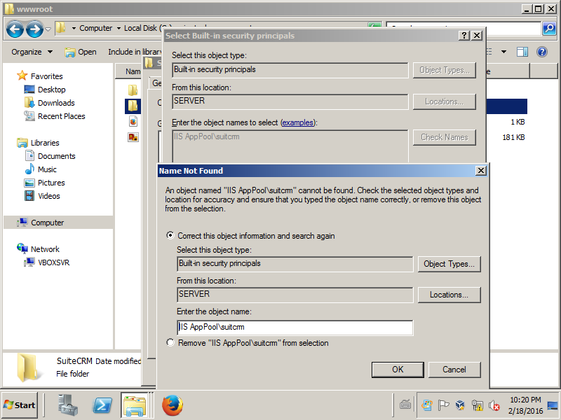 SuiteCRM Forums: Windows and IIS Permissions Issues