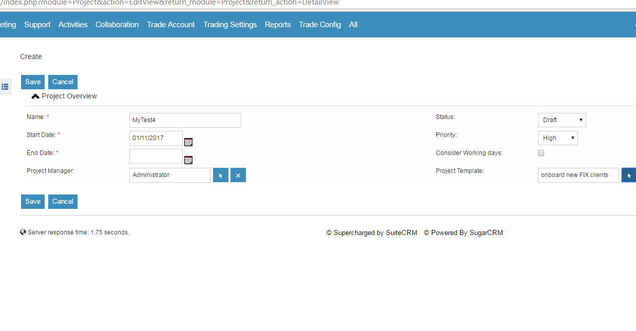 Suitecrm Crm For The World Create Project With Project