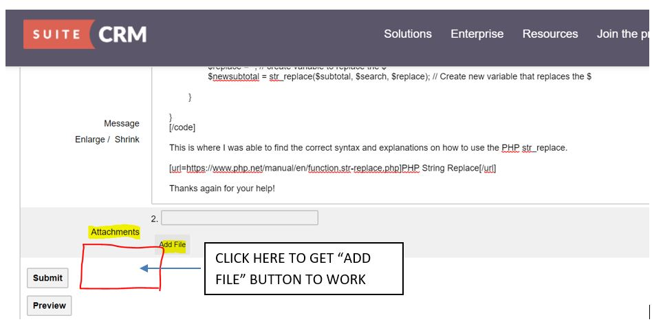 SuiteCRM Forums: File attachments     Having problems