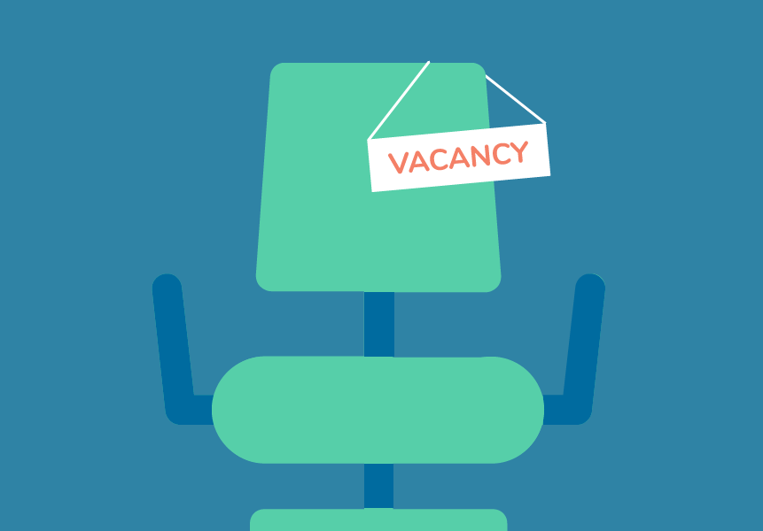 empty chair with vacancy sign on it